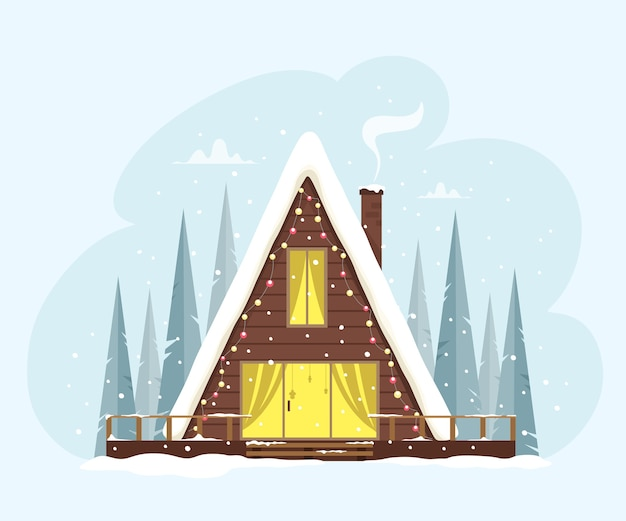 Una graziosa casa triangolare nella foresta decorata con luci. atmosfera festosa e accogliente. illustrazione in stile piatto. buon natale.