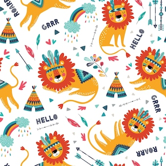 Modello senza cuciture carino leoni tribali. trama ripetuta infantile carina. leoni dei cartoni animati. modello per tessuto per bambini.