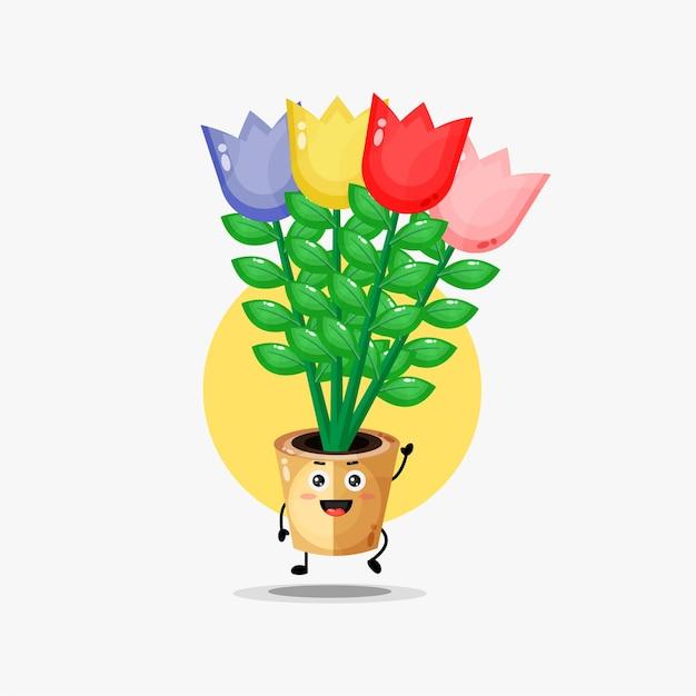 Simpatico personaggio di fiore di tulipano che fluttua