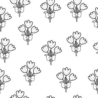 Illustrazione di pagina da colorare di tulipani carino bianco e nero senza cuciture