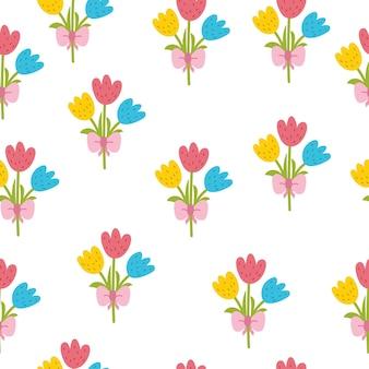 Modello senza cuciture di tulipani carini primavera in stile cartone animato