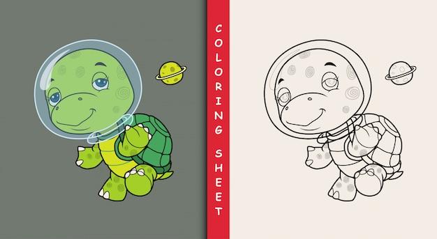 Astronauta carino tartaruga. foglio da colorare.