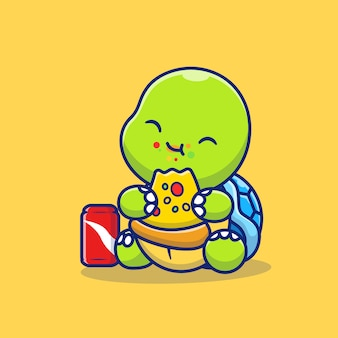 Tartaruga sveglia che mangia pizza con l'illustrazione dell'icona del fumetto della soda. concetto di icona cibo animale isolato premium. stile cartone animato piatto