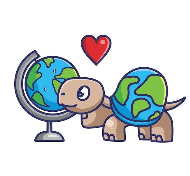 La tartaruga carina si innamora del globo terrestre. fumetto animale isolato piatto stile adesivo web design icona illustrazione vettore premium logo mascotte carattere