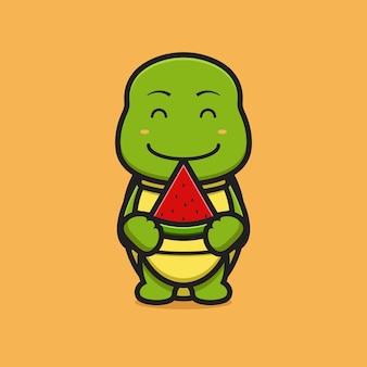 Carattere della mascotte della tartaruga sveglia che tiene l'icona di vettore del fumetto dell'anguria. disegno isolato su giallo. stile cartone animato piatto.