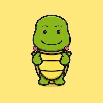 Simpatico personaggio mascotte tartaruga con dito amore posa fumetto icona vettore. disegno isolato su giallo. stile cartone animato piatto.