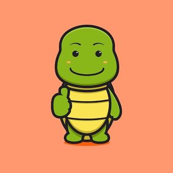 Simpatico personaggio della mascotte della tartaruga con buona posa dell'icona del fumetto. design isolato su marrone. stile cartone animato piatto.