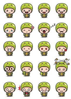 Set mascotte carino tartaruga