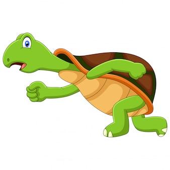 Carino un'illustrazione in esecuzione tartaruga