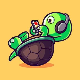 Tartaruga carina con smartphone e cuffie