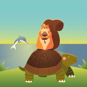 Tartaruga sveglia con scoiattolo e delfino nell'illustrazione degli animali del fumetto del mare