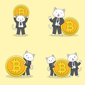 Simpatico personaggio di gatto smoking con collezione di monete