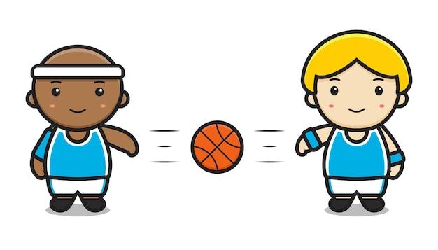 Due ragazzi carini che giocano a basket passando disegno isolato