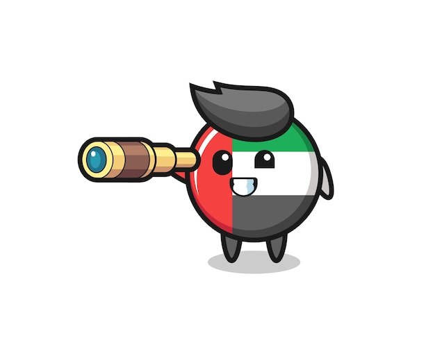 Il simpatico personaggio distintivo della bandiera degli emirati arabi uniti tiene in mano un vecchio telescopio, un design in stile carino per maglietta, adesivo, elemento logo