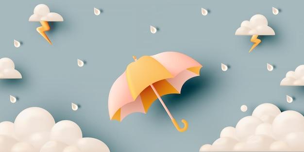 Ombrello carino per la stagione dei monsoni con colori pastello.