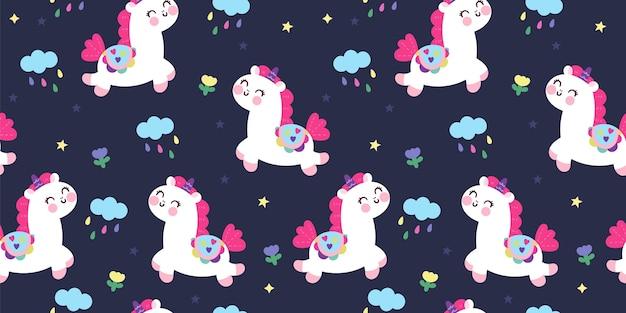 Carino unciorn seamless pattern notte sfondo kawaii animale