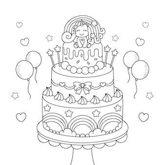 Disegno di torta di compleanno con uncorn da colorare
