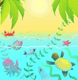Composizione di simpatici animali sott'acqua con palme da sole e spiaggia