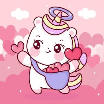 Cartone animato carino unicorno angelo che tiene cuore per san valentino