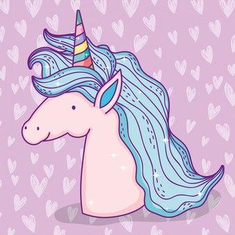 Simpatico animale unicorno con corno e capelli
