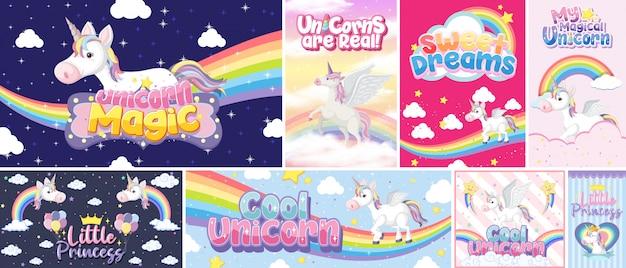 Banner di unicorno carino sul colore di sfondo pastello