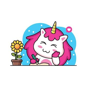 Libro di unicorno carino con girasole