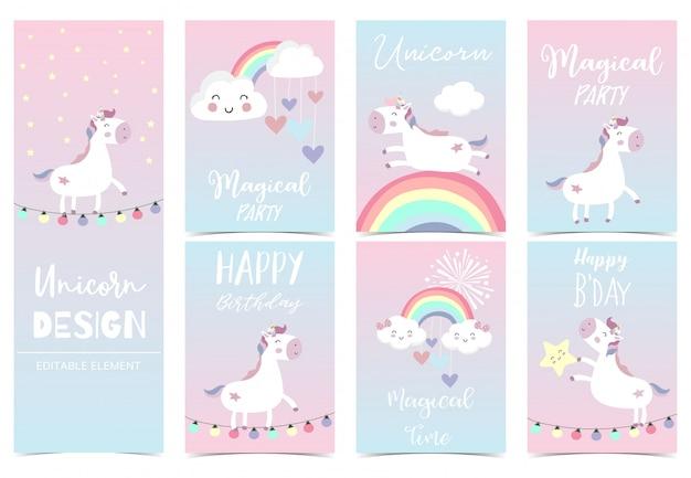 Carta di unicorno carino per bambino Vettore Premium