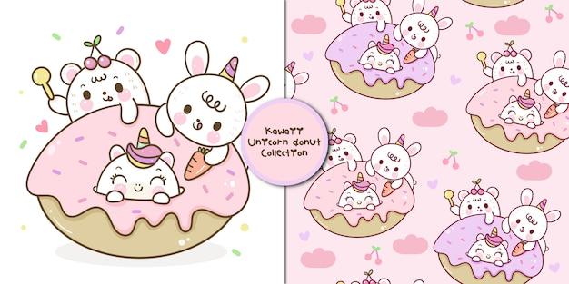 Simpatico orso dei cartoni animati di unicorno e coniglietto mangiano gustosissimo desser