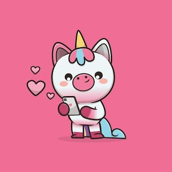 Illustrazione sveglia del personaggio dei cartoni animati dell'unicorno