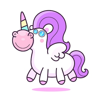 Illustrazione di personaggio dei cartoni animati unicorno carino.