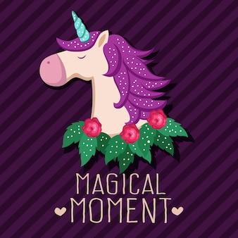 Simpatico personaggio dei cartoni animati di unicorno