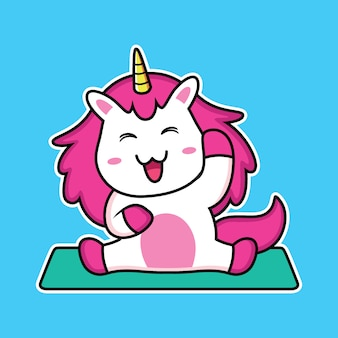Simpatico cartone animato unicorno che fa yoga