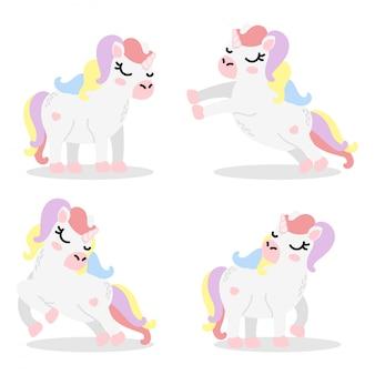 Set di elementi fumetto unicorno sveglio Vettore Premium