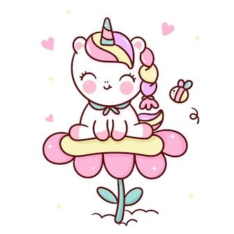 Simpatico cartone animato unicorno sul fiore con animale kawaii ape