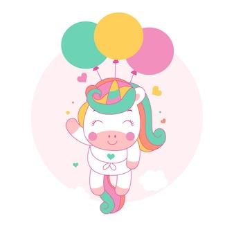Simpatico cartone animato unicorno vola con palloncini in stile kawaii