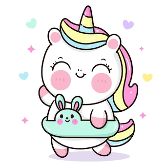 Simpatico cartone animato unicorno che tiene coniglietto anello di gomma stagione estiva animali kawaii