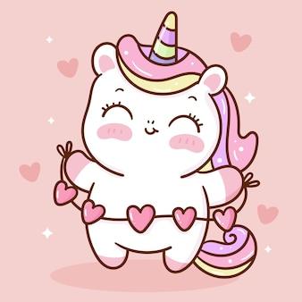 Cuori della holding del fumetto unicorno carino