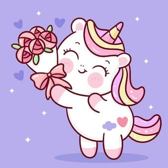 Simpatico cartone animato unicorno che tiene fiore rosa per san valentino