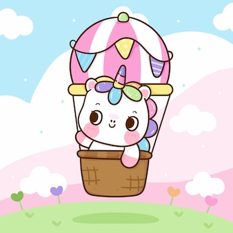 Simpatico cartone animato unicorno in mongolfiera con sfondo pastello animale kawaii