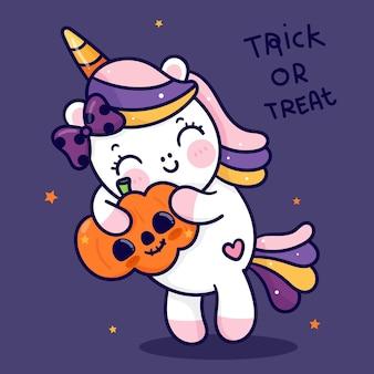 Simpatico unicorno cartone animato abbraccio zucca di halloween jack o lantern animale kawaii
