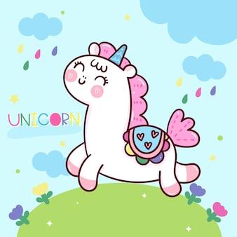 Animale di kawaii del fumetto unicorno carino con sfondo dolce