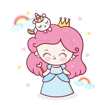 Simpatico cartone animato di unicorno e piccola principessa in piedi intorno all'arcobaleno