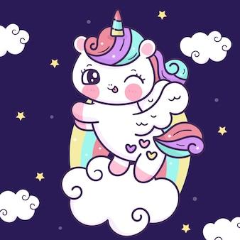 Simpatico unicorno cartone animato pegaso che balla su una nuvola arcobaleno animale kawaii
