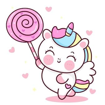 Simpatico unicorno cartone animato pony pegasus che tiene caramella dolce animale kawaii