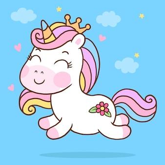Cartone animato carino unicorno runing nel cielo isolato su sfondo blu
