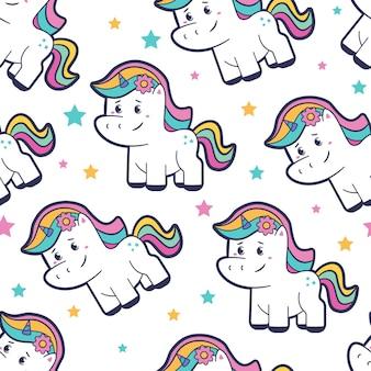 Modello senza cuciture del fumetto di unicorno carino su sfondo bianco on