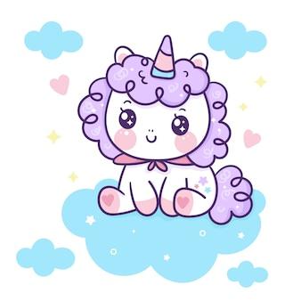 Il simpatico cartone animato unicorno si siede sulla nuvola kawaii animale disegnato a mano
