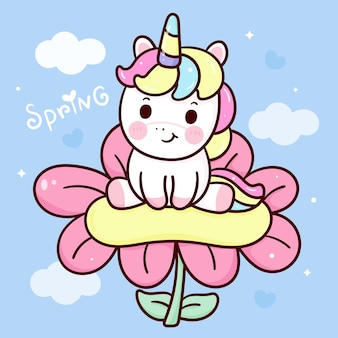 Il fumetto sveglio dell'unicorno si siede sul fiore nell'animale di kawaii di stagione primaverile