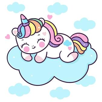 Simpatico cartone animato unicorno dormire sulla nuvola in stile kawaii