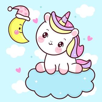 Animale sveglio di kawaii del sonno e della luna del fumetto dell'unicorno